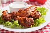 Buffalo style chicken wings with blue cheese dip