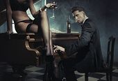 picture of seductress  - Sexy woman with glass of wine - JPG