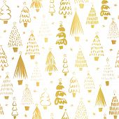 Gold Foil Metallic Christmas Trees On White Seamless Vector Pattern. Modern Golden Abstract Doodle H poster