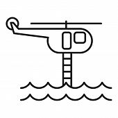 Flood Rescue Helicopter Icon. Outline Flood Rescue Helicopter Vector Icon For Web Design Isolated On poster