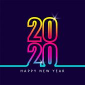 2020 Number Colorful Isolated On Blue Background, Number For Calendar, Happy New Year 2020,2020 Begi poster