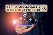 Conceptual Hand Writing Showing A Satisfied Customer Is The Be. Business Photo Showcasing A Satisfie poster