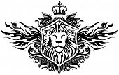 pic of lion  - Lion On Shield Insignia - JPG