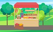 Man Standing At Counter Of Greengrocers Shop Or Marketplace And Selling Fruits And Vegetables. Fresh poster