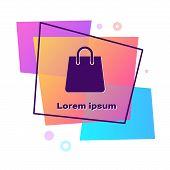 Purple Handbag Icon Isolated On White Background. Shoping Bag Sign. Woman Bag Icon. Female Handbag S poster