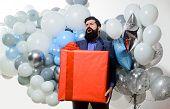Birthday Party. Happy Birthday Guy With Helium Balloons And Big Gift Box. People, Birthday, Celebrat poster