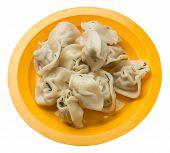 Dumplings On A Yellow Plate Isolated On White Background .boiled Dumplings.meat Dumplings Top Side V poster