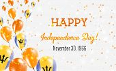 Barbados Independence Day Greeting Card. Flying Balloons In Barbados National Colors. Happy Independ poster