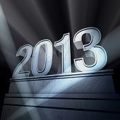 pic of happy new year 2013  - Number 2013 on a silvery pedestal at a black background - JPG