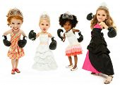 picture of bobble head  - Group Of Beauty Pageant Girls Fighting For The Crown Wearing Boxing Gloves Over White Background - JPG