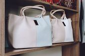 Fashion Trend Light Handbags On Shelf In A Store, Shop. Fall, Autumn Sale, Trend, Shopping, Accessor poster