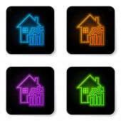 Glowing Neon Rising Cost Of Housing Icon Isolated On White Background. Rising Price Of Real Estate.  poster