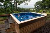 picture of hot-tub  - Hot tub with a view of the mountains in the distance - JPG
