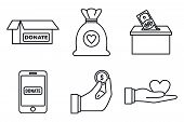 Charity Donations Icons Set. Outline Set Of Charity Donations Vector Icons For Web Design Isolated O poster
