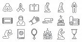 Religion Prayer Icons Set. Outline Set Of Religion Prayer Vector Icons For Web Design Isolated On Wh poster