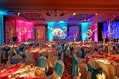 stock photo of banquet  - Image of a beautifully decorated ballroom for an Indian wedding reception