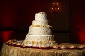 stock photo of cake stand  - Image of a beautifully decorated wedding cake - JPG