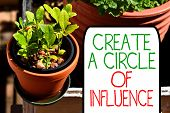 Writing Note Showing Create A Circle Of Influence. Business Photo Showcasing Be An Influencer Leader poster