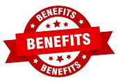 Benefits Ribbon. Benefits Round Red Sign. Benefits poster