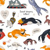 Cat Pattern. Seamless Texture Of Different Cute Kittens, Trendy Doodle Fabric Template With Diverse  poster