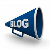 foto of blog icon  - A blue bullhorn or megaphone with the word blog on it on white background - JPG