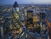stock photo of roofs  - City of London Skyline At Sunset - JPG