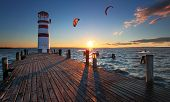 picture of hang-gliding  - Lighthouse at Lake Neusiedl at sunset  - JPG