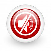 mute red circle glossy web icon on white background