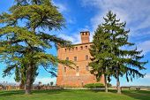 View on red brick ancient castle among trees under blue sky with white clouds in Grinzane cavour, Pi