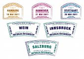 stock photo of mozart  - Passport stamps from Germany and Austria in vector format - JPG