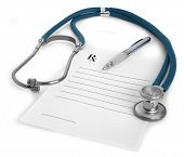 stock photo of prescription pad  - Stethoscope a pen and a blank prescription pad on white background - JPG