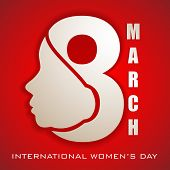 Happy Women's Day greeting card or background with illustration of lady face and text 8 March on red