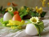 stock photo of easter flowers  - easter table decoration - JPG