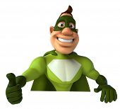 picture of animated cartoon  - Green superhero - JPG