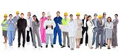 Large diverse group of workers on white background