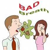 An image of a woman talking to a man with bad breath.