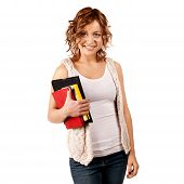 Happy Young Student Girl Holding Books, Study, Education, Knowle