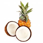 Coconut And Pineapple Isolated On White