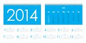 stock photo of tuesday  - Vector calendar for 2014 with metallic design - JPG