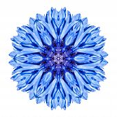 stock photo of kaleidoscope  - Blue Cornflower Mandala Flower - JPG