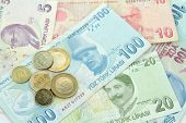 stock photo of turkish lira  - Turkish banknotes and coins  - JPG