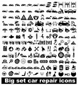 image of car symbol  - Big set car repair icons - JPG