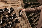 stock photo of wine cellar  - A man chooses a wine in cellar - JPG