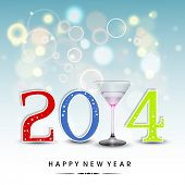 Happy New Year 2014 celebration party, poster or banner with colorful text, wine glass on shiny blue