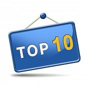 stock photo of ten  - top 10 charts list pop poll result and award winners chart ranking music hits best top ten quality rating prize winner icon  - JPG