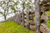 Rustic Home Made Split Rail Fence In The Mountains Of North Carolina