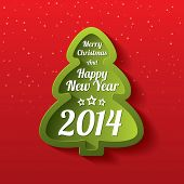 stock photo of applique  - Merry Christmas tree greeting card - JPG