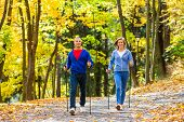 stock photo of slender  - Nordic walking  - JPG