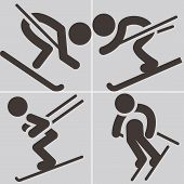 Downhill Skiing Icons