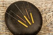 picture of naturopathy  - several needle for acupuncture are adjacent - JPG